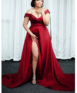 Plus Size Red Off the Shoulder Long Prom Dresses with Split Side - $142.99