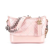 BRAND NEW AUTH Chanel 2019 IRIDESCENT CALFSKIN Pink Small Gabrielle Hobo Bag