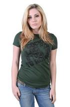 Rogue Status Femmes Juniors Hunter Vert/Noir Carlin Cocked Fermé Rock T-Shirt