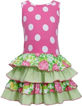 Bonnie Jean Little Girl 2T-6X Racerback Dotted Knit To Mix Print Tier Dress