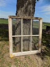 Old Wood Window Frame 6 Glass Panes Rustic Farm House Decor Cottage 27 x... - $99.00