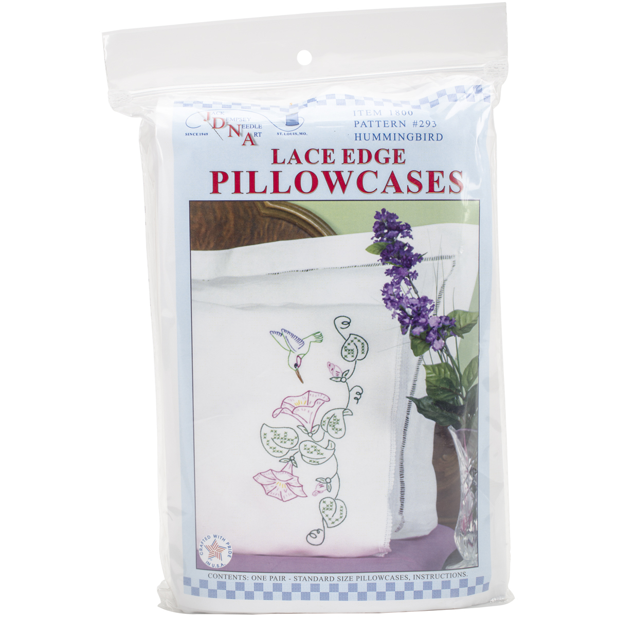 Primary image for Jack Dempsey Stamped Pillowcases W/White Lace Edge 2/Pkg-Hummingbird