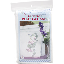 Jack Dempsey Stamped Pillowcases W/White Lace Edge 2/Pkg-Hummingbird - $22.10