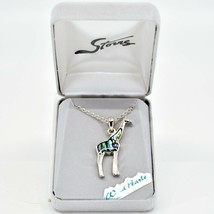 Storrs Wild Pearle Abalone Shell Giraffe Pendant w/ Silver Tone Necklace image 1