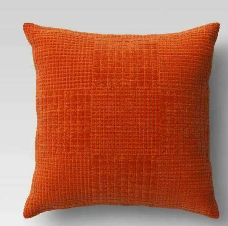 Oversized Velvet Grid Square Throw Pillow Orange - Threshold 24'' X 24''   NEW !