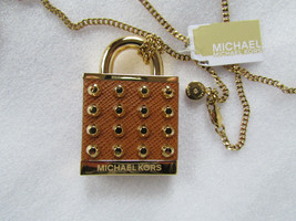 Michael Kors Necklace Heritage Studded Leather Padlock NEW $165 - $103.95