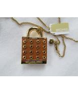 Michael Kors Necklace Heritage Studded Leather Padlock NEW $165 - $103.95