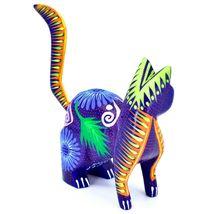 Handmade Alebrijes Oaxacan Copal Wood Carving Painted Cat Kitten Figurine image 4