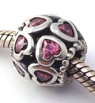 Authentic Pandora Love All Around Pink Hearts Bead Charm 791250CZS New - $53.19