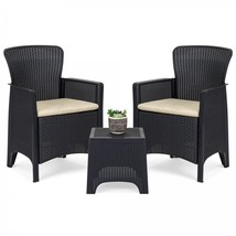 Outdoor Bistro Set Patio Chairs Rattan Coffee Table 3 Piece Deck Pool Fu... - £131.84 GBP