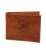 NFL Miami Dolphins Leather Bi-Fold Wallet - Tan Leather Billfold Wallet ... - $24.74