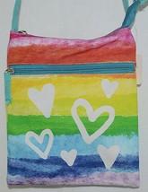 Three Cheers For Girls Brand 29170 Turquoise Rainbow White Hearts Cross body Bag image 2