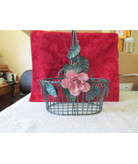 Wire Metal Decorative Basket With Roses  - $10.99