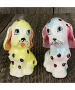 Dog Salt and Pepper Shakers Vintage Porcelain Yellow Blue Spots Japan 19... - $41.57