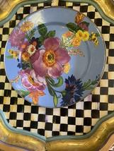 MacKenzie-Childs Set Of 6 Blue Flower Market enamel Dinner Charger Plates  - $346.50