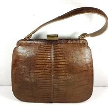 Palizzio True Vintage Brown Reptile Print Leather Handbag - $8.73