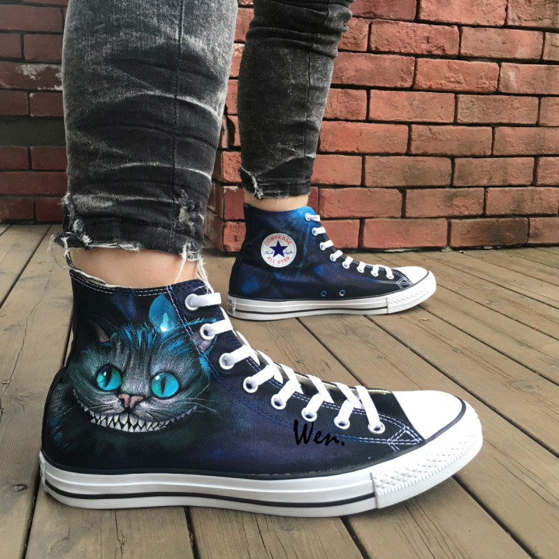 Cheshire Cat Converse All Star Sneakers Hand Painted Shoes Alice in Wonderland