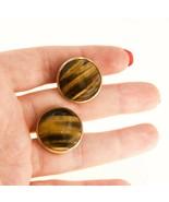 Vintage 9ct gold  Cufflinks Tigerseye Gemstone form Men yellow gold UK BHS - $466.18
