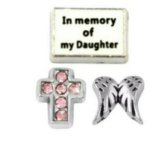 Floating Charm In Memory of Daughter Birthstone Cross fits Origami Owl L... - $7.25