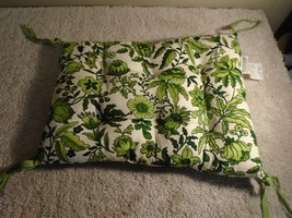 Vintage Chair Seat Cushion Green Floral Flower MCM 1970's DATED 1974 - $17.06