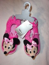 DISNEY STORE MINNIE MOUSE SOFT PLUSH PINK SLIPPERS SIZE 11/12 NEW W/T - $12.99