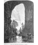 VIRGINIA View Under Natural Bridge Rock Formation - 1883 German Print - $16.20