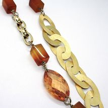 Necklace Silver 925, Agate Orange, Ovals Satin, Heart Convex Perforated image 4