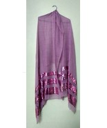 Sequins work pink stole scarf shawl neck wrap fine quality+ 1 pc complem... - $37.62