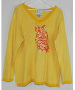 The Quacker Factory Womens Large L Sweater Yellow Sequins Beaded Butterf... - $24.70
