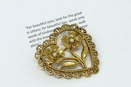 Gold Heart Brooch | Pin with Roses and Pearls | Ships Free |  - $7.35