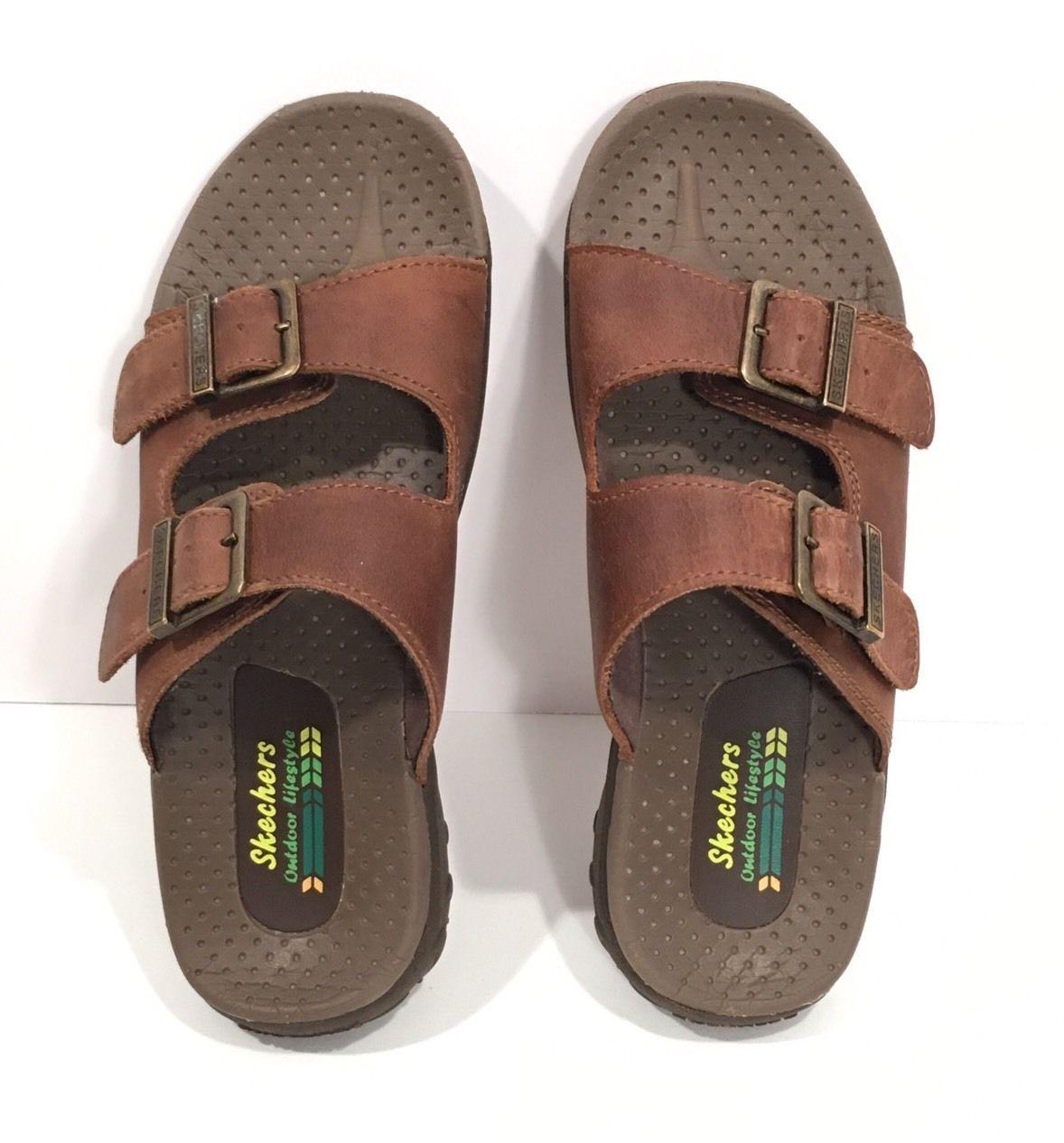 Skechers Leather Slide Sandals Reggae-Jammin #46795 Women's 6M EUC