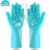 Magic Saksak Dishwashing Cleaning Sponge Gloves,1 Pair Reusable Silicone... - $12.84