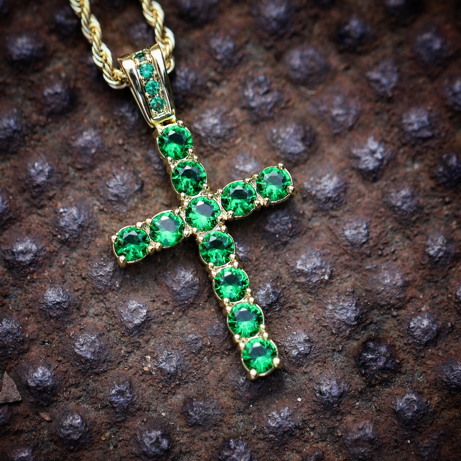 Men's Green Hip Hop Gold Cross Chain Necklace