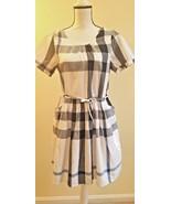 New White Blue Gray Nova Check Plaid Dress Short Sleeves Pockets Size L ... - $37.22