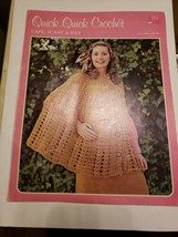 Vintage Quick-Quick Crochet Cape Scarf Hat Instructional Pattern Book 70... - $19.75