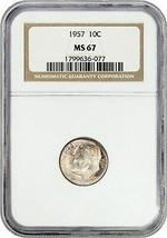 1957 10c NGC MS67 - Roosevelt Dime - $43.65