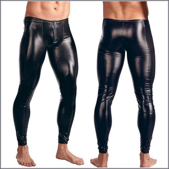 Men's Zipper Pouch Skin Tight Stretch Black Faux Latex PVC Wet Look Leggings