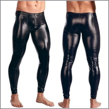 Men's Skin Tight Black Color Faux Latex Zipper Pouch Stretch Pants Leggings
