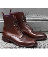 Handmade Men Brown color Leather Ankle boots, New Men leather lace up boots - $179.99