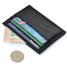 Black Slim Leather Credit Card Holder Case Mini Wallet ID Case Purse Bag... - $14.80