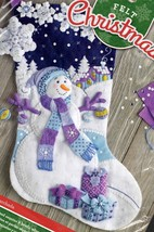 Bucilla Frosty Night Snowman Purple Blue Snow Christmas Felt Stocking Ki... - $39.95