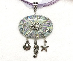 Batik Style Polymer Clay Pendant Necklace with 4mm Mother of Pearl - $20.00