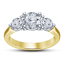 Diamond Engagement Three Stone Ring 18k Yellow Gold Plated 925 Sterling ... - ₨4,944.80 INR