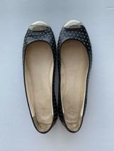 Giuseppe Zanotti Studded Ballet Flats Black Leather Size 36.5 Metal Cap Toe - $79.20