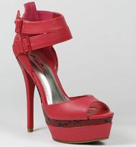 Coral Pink Faux Leather Snake Skin Open Toe High Heel Double Platform Sandal - $9.99