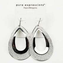 Silver Glitter Dangle Earrings Teardrop Hypo-Allergenic Fashion Jewelry ... - $14.99