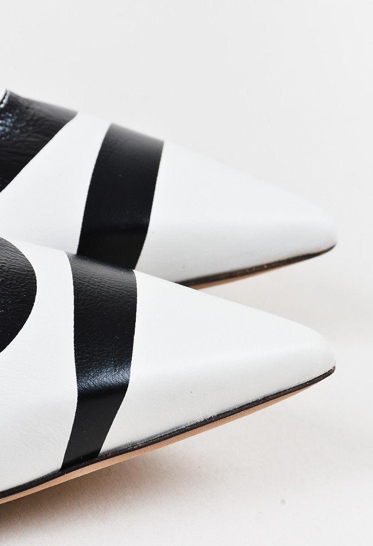 Lanvin NIB White Black Leather Printed Pointy Toe Ballerina Flats SZ 40