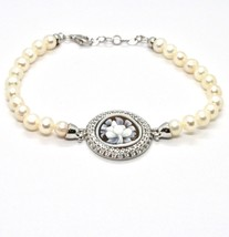 Silver 925 Bracelet With Pearls Fresh Water Cameo Cameo Zircon Cubic - $215.54