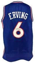 Julius Erving Autographed Pro Style Blue Jersey JSA Authenticated - £142.96 GBP