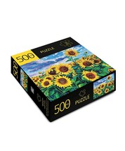 """Sunflower Field Jigsaw Puzzle 500 pc 28"""" x 20"""" Durable Fit Pieces Flowers Yellow image 2"""